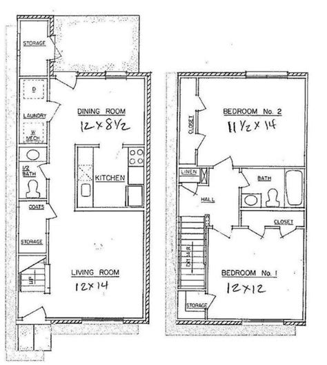Townhouse Floor Plans by 2 Bedroom Town Home Westwood Apartments Floor Plans