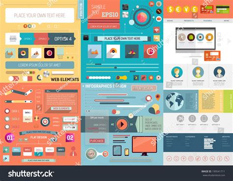 layout app border one page website design template ui stock vector 199541711