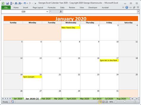 calendar year  excel spreadsheet printable digital  buyexceltemplatescom
