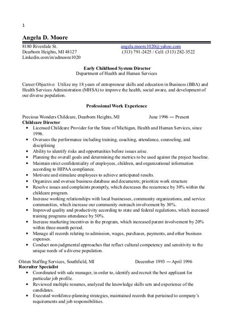 early childhood resume objective 1 early childhood director resume 2014