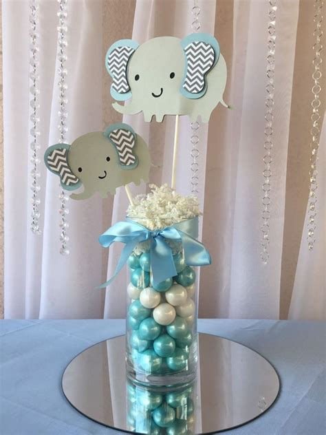 light blue elephant centerpieces stick elephant baby
