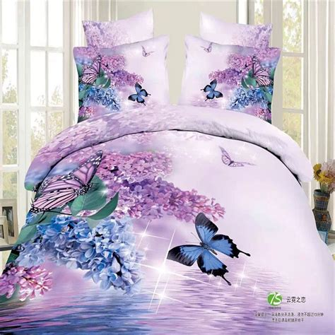 Lilac Duvet Cover Sets Blue And Light Purple Lilac Butterfly And Flowers Bedding