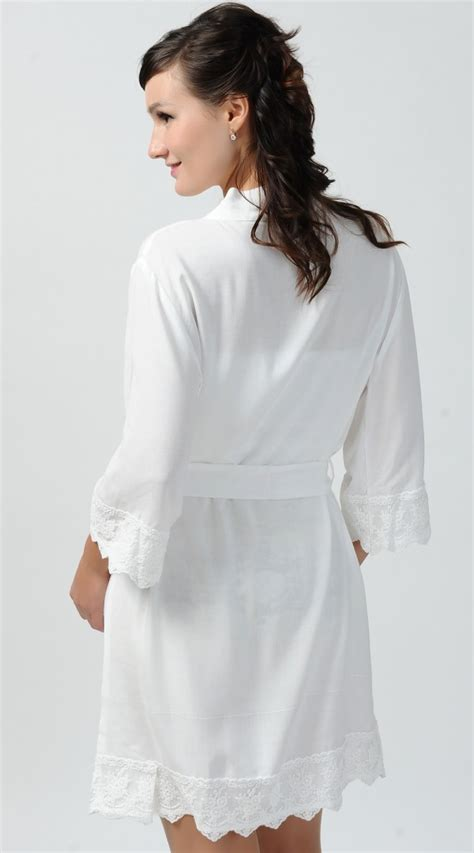 Bridal Robes by Bridal Robe White Cotton Robe Lace Bridesmaid Robes