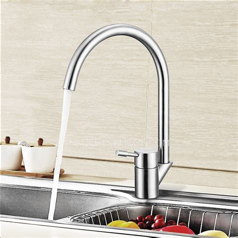 Goose Shaped Brushed Nichel Kitchen Faucet   goose neck shaped stainless steel bathroom faucets brushed