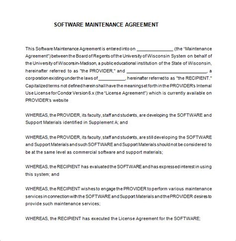 software support agreement template 9 it support contract templates free word pdf
