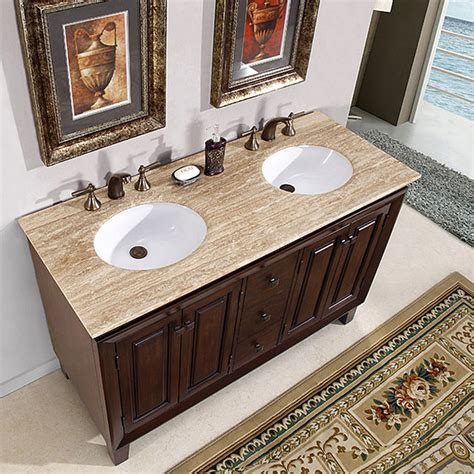 55 Inch Sink Vanity by Silkroad Exclusive Alameda 55 Inch Sink Brown
