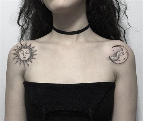 picture of sun and moon tattoos on the both shoulders