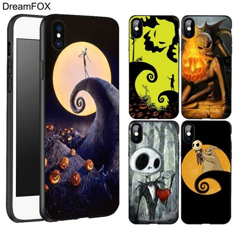 dreamfox l189 skellington black soft tpu silicone cover for apple iphone xr xs max x 8