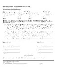 Temporary Power Of Attorney Template by Temporary Power Of Attorney For The Care Of Children