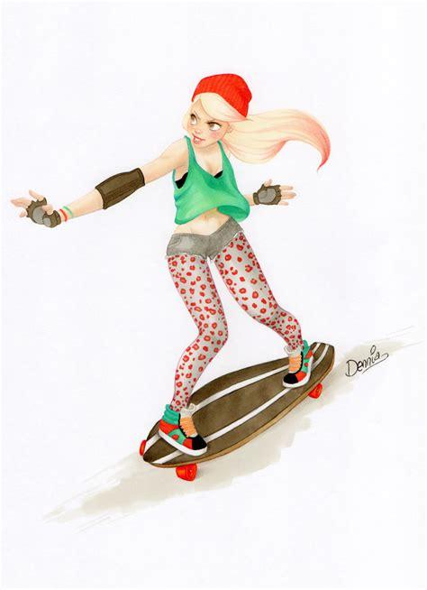 imagenes de skate para dibujar a lapiz skate girl by dennia on deviantart