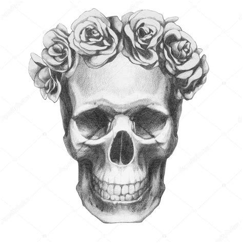 imagenes de calaveras rosas dibujo original de calavera con rosas fotos de stock