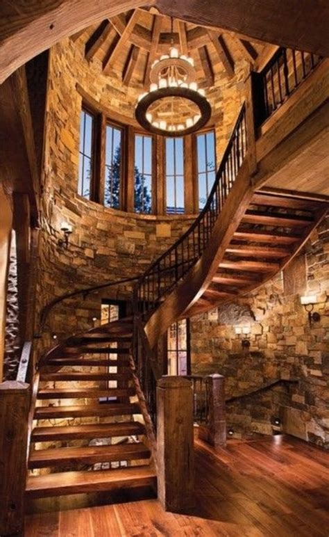 Church Treehouse - massive wooden spiral staircase in large stone stairway favething com