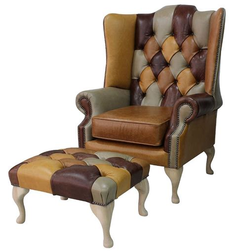 Patchwork Wing Chair - chesterfield prince s patchwork leather wing