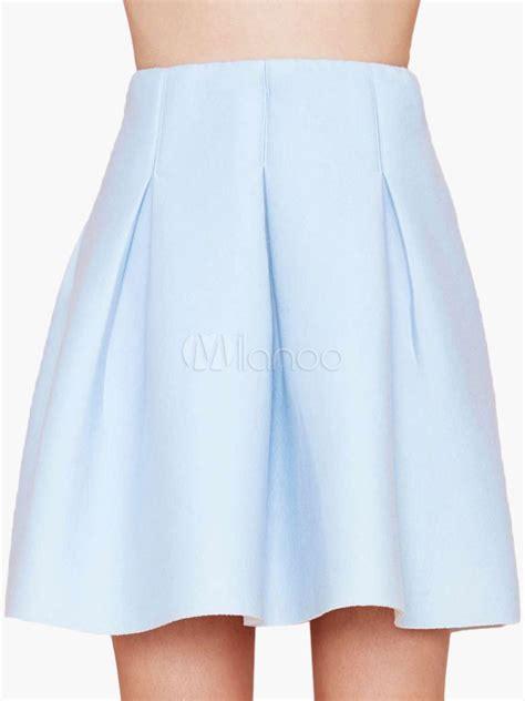 light blue high waisted a line skirt milanoo
