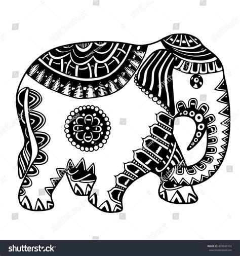 indian doodle indian elephant doodle indian stock vector
