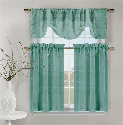 valance curtains for kitchen teal videira gold leaf embroidery kitchen curtain set valance tiers ebay