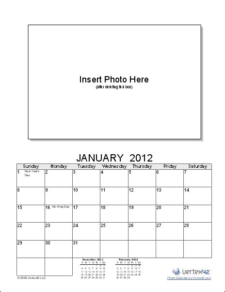 Create A Photo Calendar Using Your Own Photos With This Free Photo Calendar Template For Excel Free Make Your Own Calendar Templates