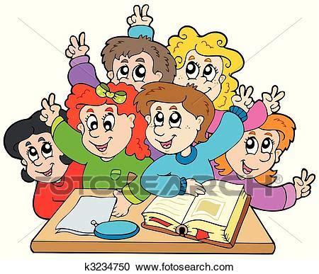clipart bambini a scuola gruppo di bambini scuola clipart k3234750 fotosearch