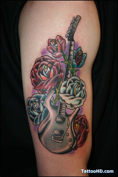 guitar with roses tattoo realistic guitar and vine on biceps 187 ideas
