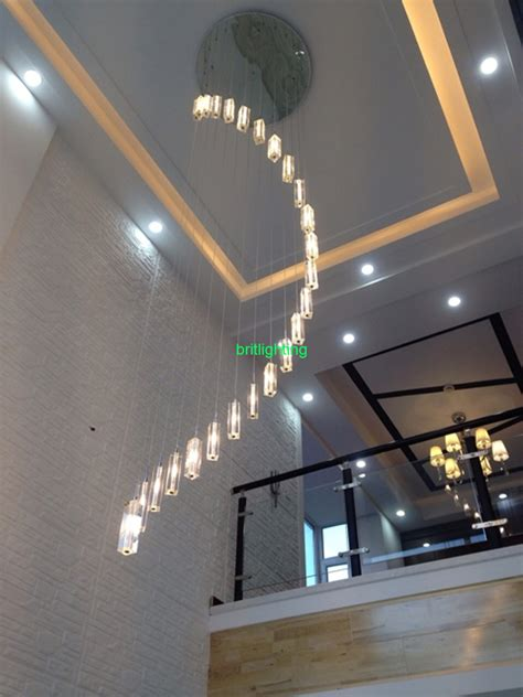 High Ceiling Lighting Fixtures Modern Chandelier Stair Spiral Chandelier Lighting Fixture For Staircase
