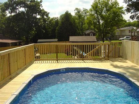wooden pool decks installed handrails and decks by mid tenn fencing