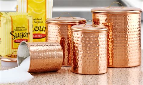 old dutch 4 pc copper kitchen canister set old dutch hammered copper kitchen canister sets groupon