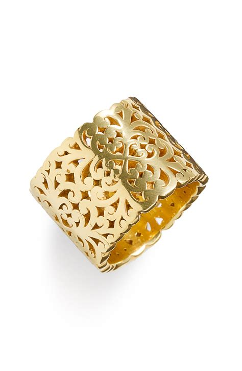 lois hill 2 tone organic geo cigar band ring in gold lyst