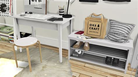 sims 4 cc desk shelf lana cc finds mxims ikea office set tjusig hallway set