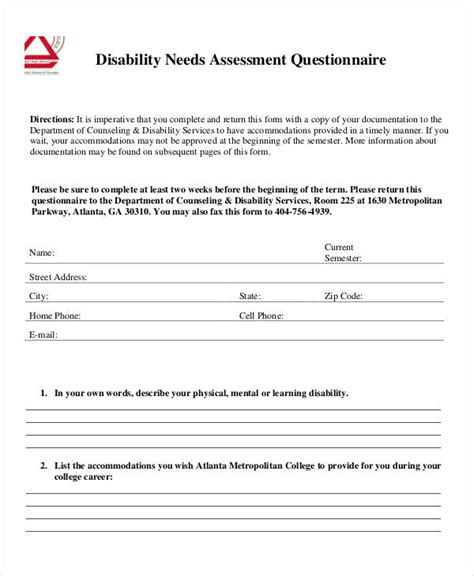 needs assessment survey template questionnaire template pages health questionnaire form