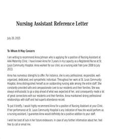 Letters Of Recommendation For Nurses by Nursing Reference Letter Templates 8 Free Word Pdf