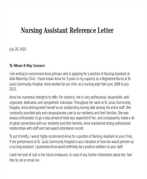 Reference Letter Nursing Assistant nursing reference letter templates 8 free word pdf
