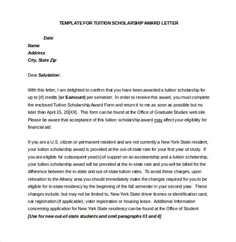 Scholarship Grant Letter award letter template 13 free word pdf documents