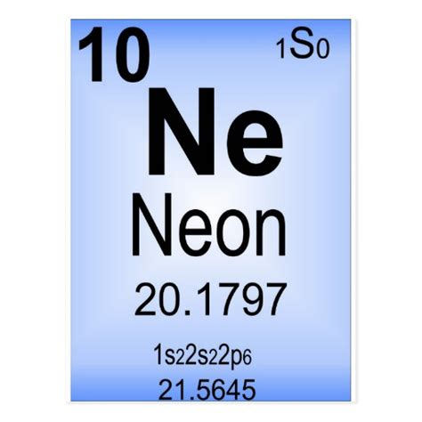 neon periodic table element postcard zazzle