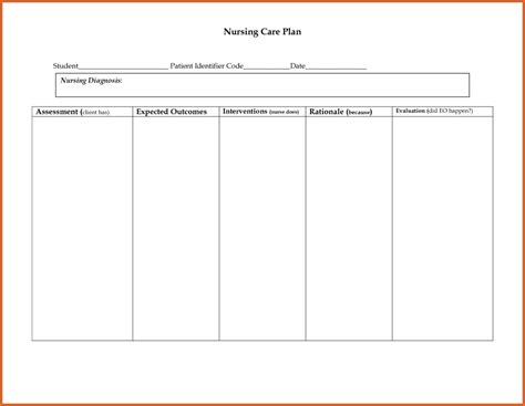 care plan sle template nursing care plan template the free website templates