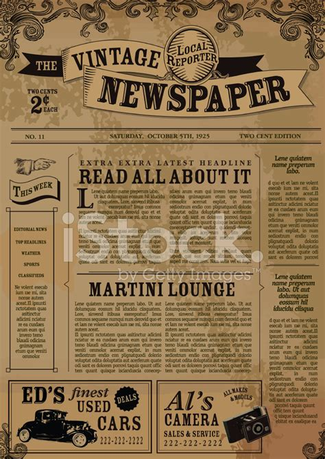 layout word zeitung vintage zeitung layout design vorlage stock vector