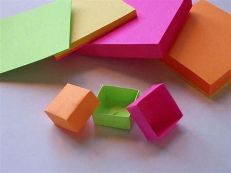 How To Make Origami Out Of Sticky Notes - como fazer caixinhas de papel para lembrancinhas