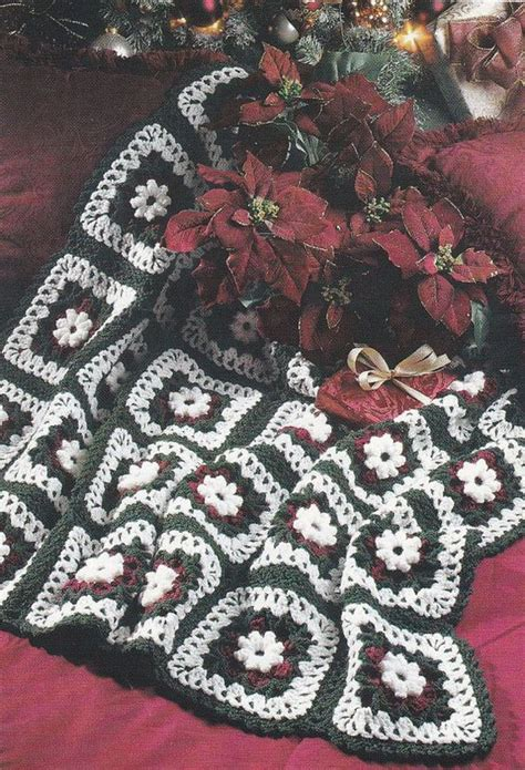 pattern christmas afghan christmas afghan crochet pattern holiday rose afghan