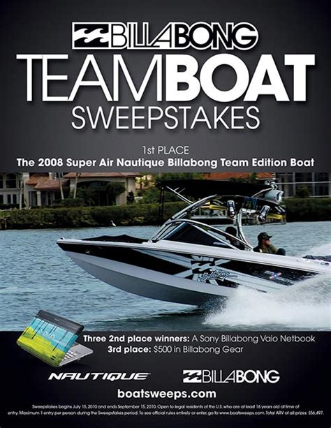 Billabong Nautique Sweepstakes - billabong team boat sweepstakes