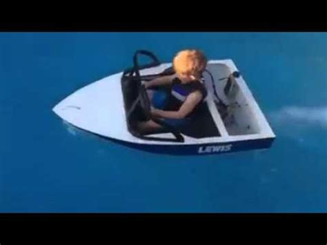 boat driving little dude driving boat in pool youtube