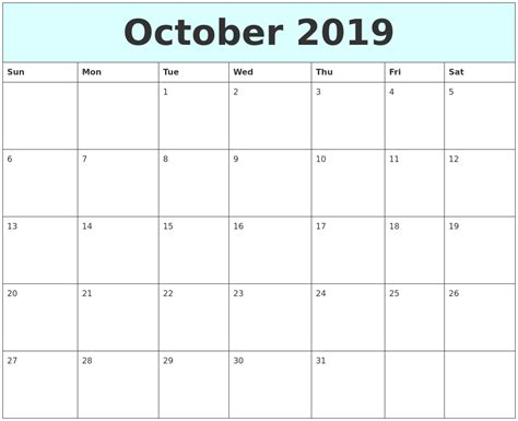 october  calendar uk blank template