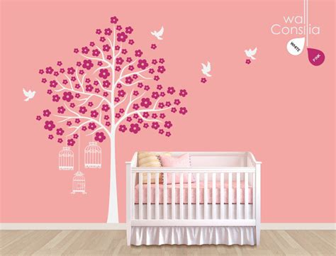 White Tree Decal For Nursery Wall Baby Nursery Wall Decals White Tree Wall Decal Birdhouse