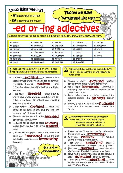ing test adjectives ending in ed or ing worksheets