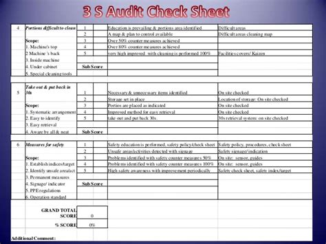 5s plan template 5s checklist exles pictures to pin on pinsdaddy