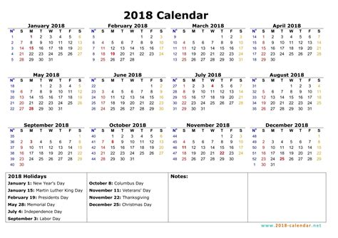 Printable Yearly Calendar 2018 Printable 2018 Calendar