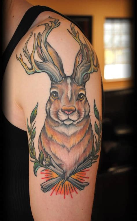 jackalope tattoo awesome jackalope on left half sleeve