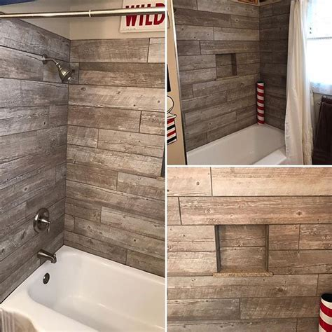Custom Bathtub Surrounds by Custom Wood Looking Tile Tub Surround Farmhouse Style
