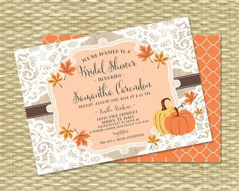 free fall themed bridal shower invitations fall bridal shower invitation burlap lace fall into