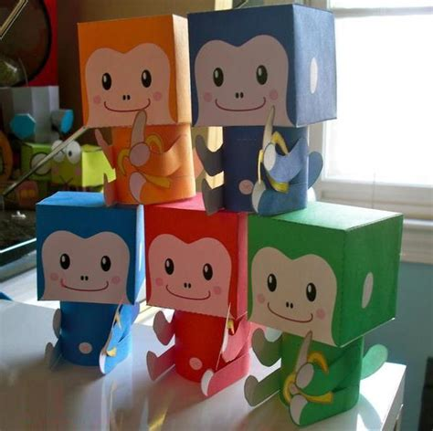 Papercraft Monkey - 2016 year of the monkey smiling monkey paper toys free