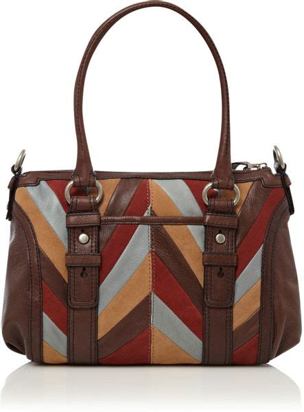 Tas Fossil Sudney Satchel Multi Brown fossil maddox satchel bag in brown multi coloured lyst