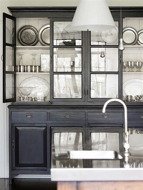 Gorgeous black rustic cabinet amp glass front hutch and kitchen island